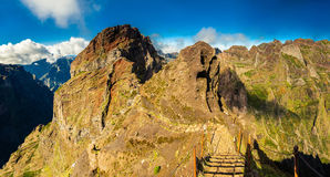 Footpath with steps on Pico do Arieiro Royalty Free Stock Photo