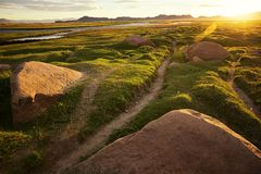 Footpath and sunrise in the valley in Western Mongolia Stock Photography