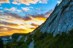 A footpath at sunset by the White Cliffs of Dover. Photo taken in Dover in Kent, southeast England Stock Photos