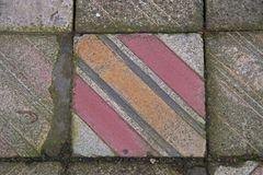 Footpath tiles former synagogue, which leads to the gas chamber in the former concentration and extermination camp Auschwitz-Birke Stock Image
