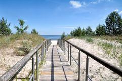 Ahlbeck,Usedom,baltic Sea,Germany. Footpath to the Beach of Ahlbeck on Usedom at baltic Sea,Mecklenburg western Pomerania,Germany royalty free stock photo