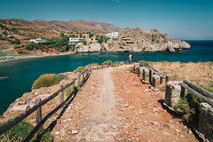 Footpath to blue lagoon of Aghios Pavlos town on Crete island, Greece.  Royalty Free Stock Photos