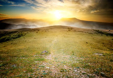 Footpath to Chater Dag. At the sunrise royalty free stock photography