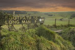 Footpath to Long Man of Wilmington Stock Photography