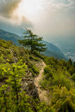 Footpath or trail on a steep mountain slope Stock Images