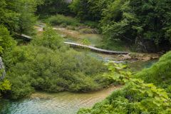 Footpath trough the plitvice lakes Stock Photo