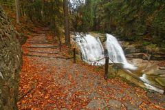 Footpath by waterfall Stock Images