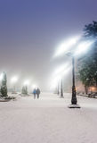Footpath in winter city park Stock Photography