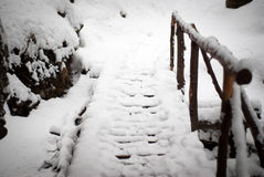 Footpath. Wood bridge in the winter Royalty Free Stock Photography