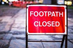 Footpath zamykający znak Zdjęcia Stock