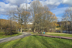 Footpaths in the park. October Stock Photography