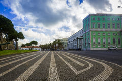 Footpaths and promenades in Ponta Delgada are paved with various Stock Photo