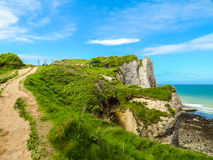 Footpaths on white rocks of Etretat Royalty Free Stock Photography