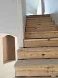 Footplate лестницы дома под конструкцией Стоковое фото RF
