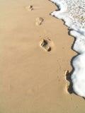 Footprins im Wasser Stockfotografie