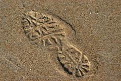 Footprint. On the beach royalty free stock photo