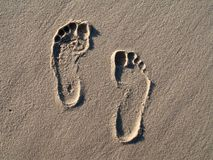 Footprint. S in the sand of the beach - Brazil Royalty Free Stock Photos