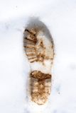 Footprint. In the snow mountain boot royalty free stock photos