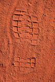 Footprint. In the typical red sand desert of Central Australia stock photos
