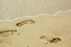 Footprint. Some footprints in the sand Stock Photos