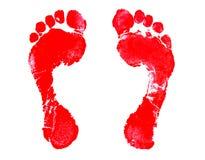Footprint. Red Footprint Stock Photo