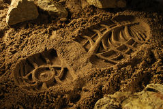 Footprint of an adventure boot Stock Image