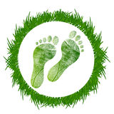 Footprint around grass Stock Photos
