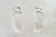 Footprint on the beach Stock Photos