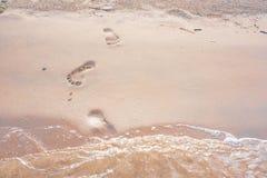 Footprint on beach. Footprint on beatiful sand beach Royalty Free Stock Photography