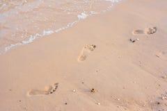 Footprint on beach. Footprint on beatiful sand beach Stock Images