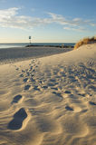 Footprint. On the beach in the evening Royalty Free Stock Images