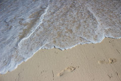 Footprint on Beach Royalty Free Stock Images