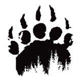 Footprint, bear paw print. Vector illustration, tattoo vector illustration