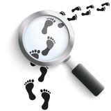 Footprint Black Track Loupe Stock Photos