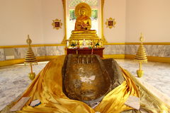 Footprint of Buddha at Pra-bart Poo Khai Ngoen Royalty Free Stock Image
