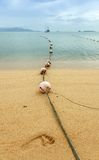 Footprint and Buoy Row. A footprint and buoy row in Samui island, Thailand Stock Photos