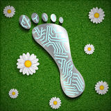 Footprint with a chip on the surface of the grass. Vector image royalty free stock photos
