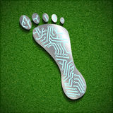 Footprint with a chip on the surface of the grass. Vector image stock photos