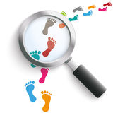 Footprint Colored Track Loupe Royalty Free Stock Photography