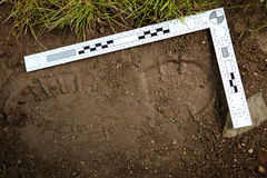 Footprint on crime scene. Crime scene investigation - collecting of trasology evidence footprint stock photo