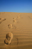 Footprint in desert Stock Image