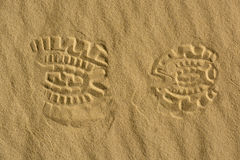 Footprint in the desert. royalty free stock image