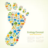 Footprint with Ecology Icons Pattern Stock Image