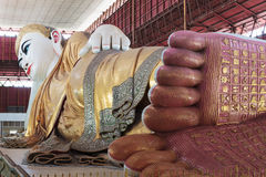 Footprint of giant reclining Buddha Stock Image