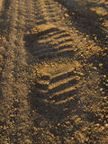 Footprint in gravel road Royalty Free Stock Image