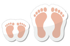 Footprint icon - baby, child and adult Stock Photography