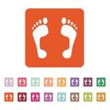 The footprint icon. foot symbol. Flat. Vector illustration. Button Set Royalty Free Stock Photos