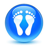 Footprint icon glassy cyan blue round button Stock Images