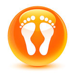 Footprint icon glassy orange round button Royalty Free Stock Image