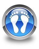 Footprint icon glossy blue round button Royalty Free Stock Photos